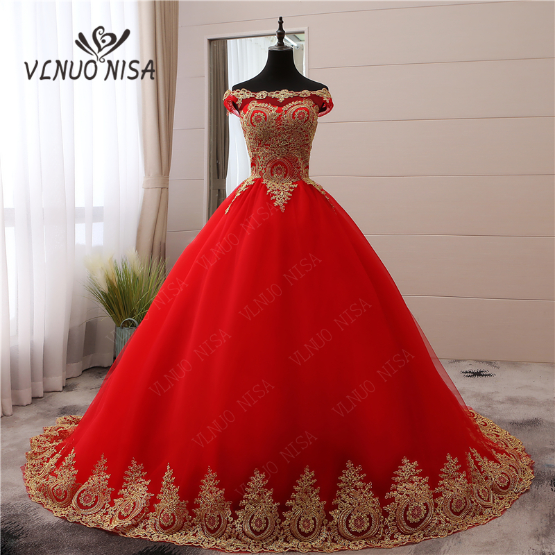 New Arrival Red Romantic Vintage Train Wedding Dress Blue