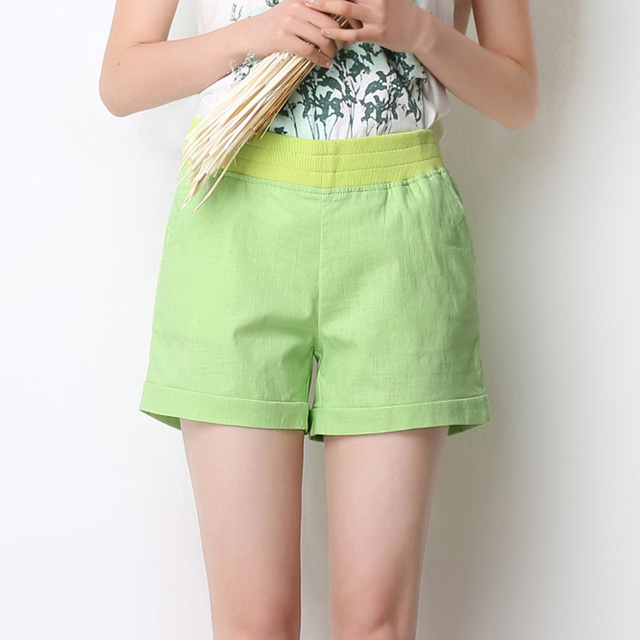 2018 Women Shorts Solid Short Femme Pocket Linen Summer Shorts Casual Loose High Waist Shorts Plus Size Short S-4XL A315