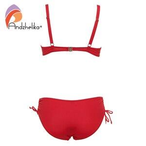 Image 4 - Andzhelika 2020 artı boyutu Bikini seti katı mayo Halter Bikini yaz plaj giyim çapraz sapanlar mayo orta bel mayo