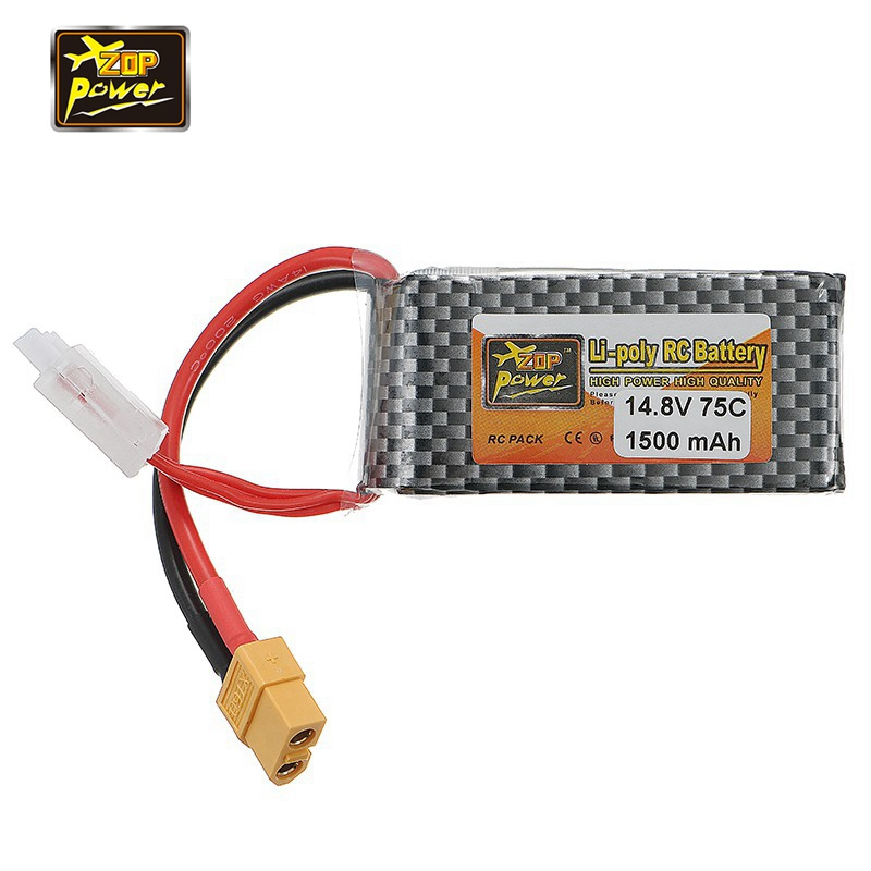 2017 Newest ZOP Power 14.8V 1500mAh 75C 4S Lipo Battery XT60 Plug Connector for RC Models Racing Drone FPV Quadcopter Spare Part gens ace lipo battery 3s 5200mah lipo 11 1v battery pack 3 5mm banana connector 10c battery fpv hobbies rc models accessories