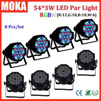8 pcs/lot 54 3W led par light dmx 512 control aluminum par light case rgbw single color for wedding party decoration