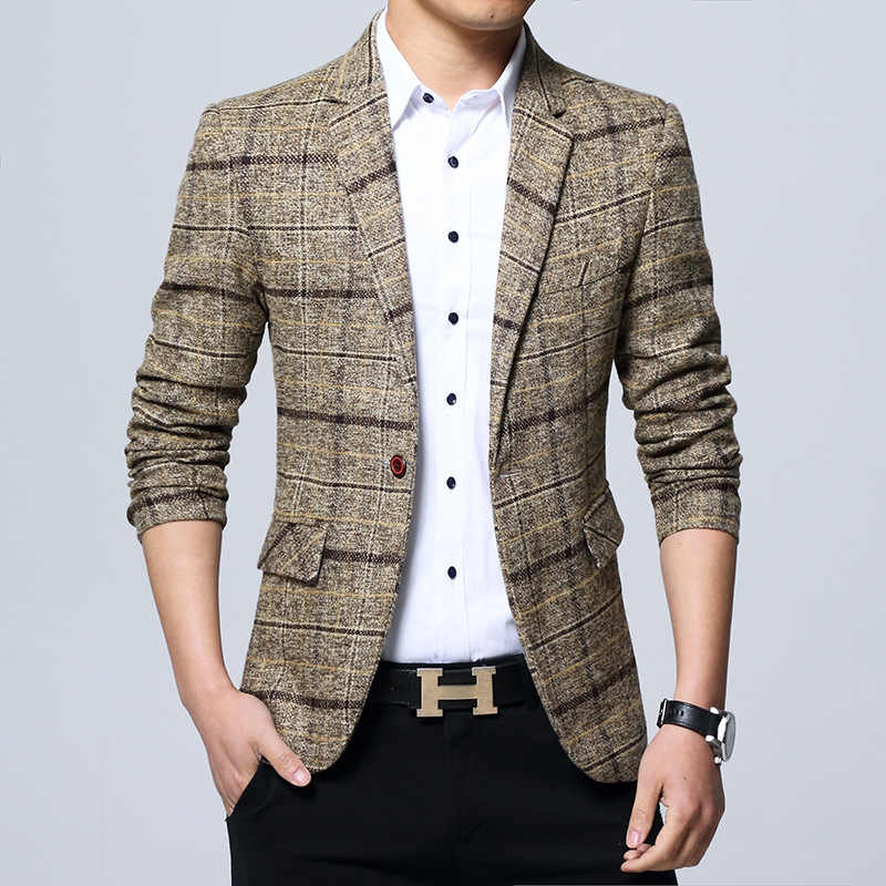 Nieuwe 2020 Mannen Gecontroleerd Blazer Cultiveren Moraal Plaid Blazer Business En Leisure Blazer