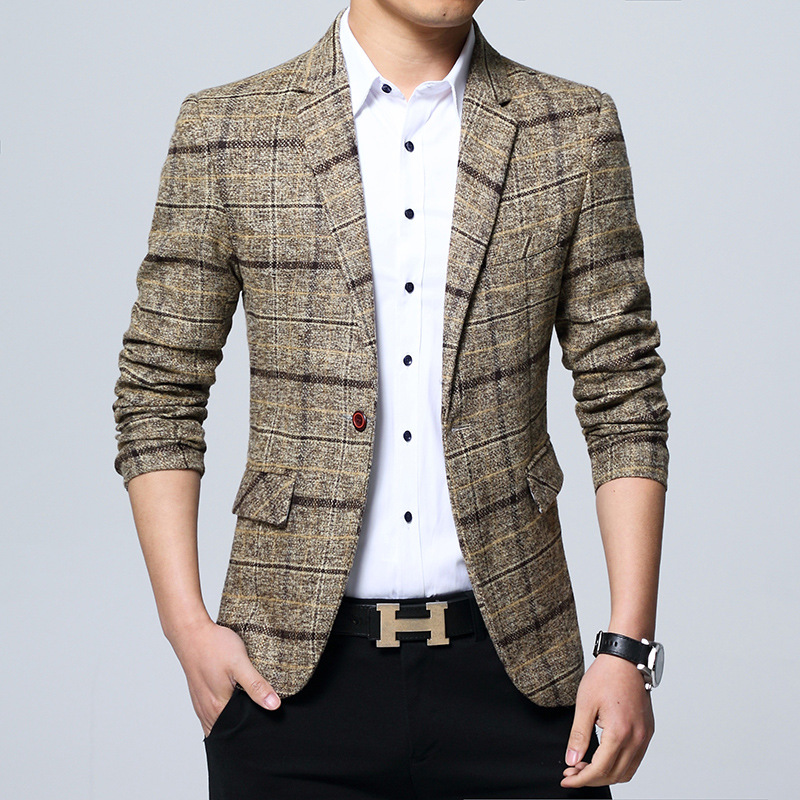 New 2019 Men Checked Blazer Cultivate One's Morality Plaid Blazer  Business And Leisure Blazer