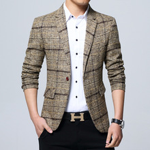 new 2019 men checked blazer Cultivate one's morality plaid b