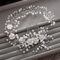 Gorgeous hair comb floral headband women pearl jewelry hairband soft chain hair ornaments bridal tiara wedding accessories yunyu