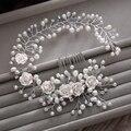 Magnífico peine del pelo de la venda floral mujeres joyería de perlas hairband adornos de pelo suave de la cadena de novia accesorios de la boda tiara yunyu