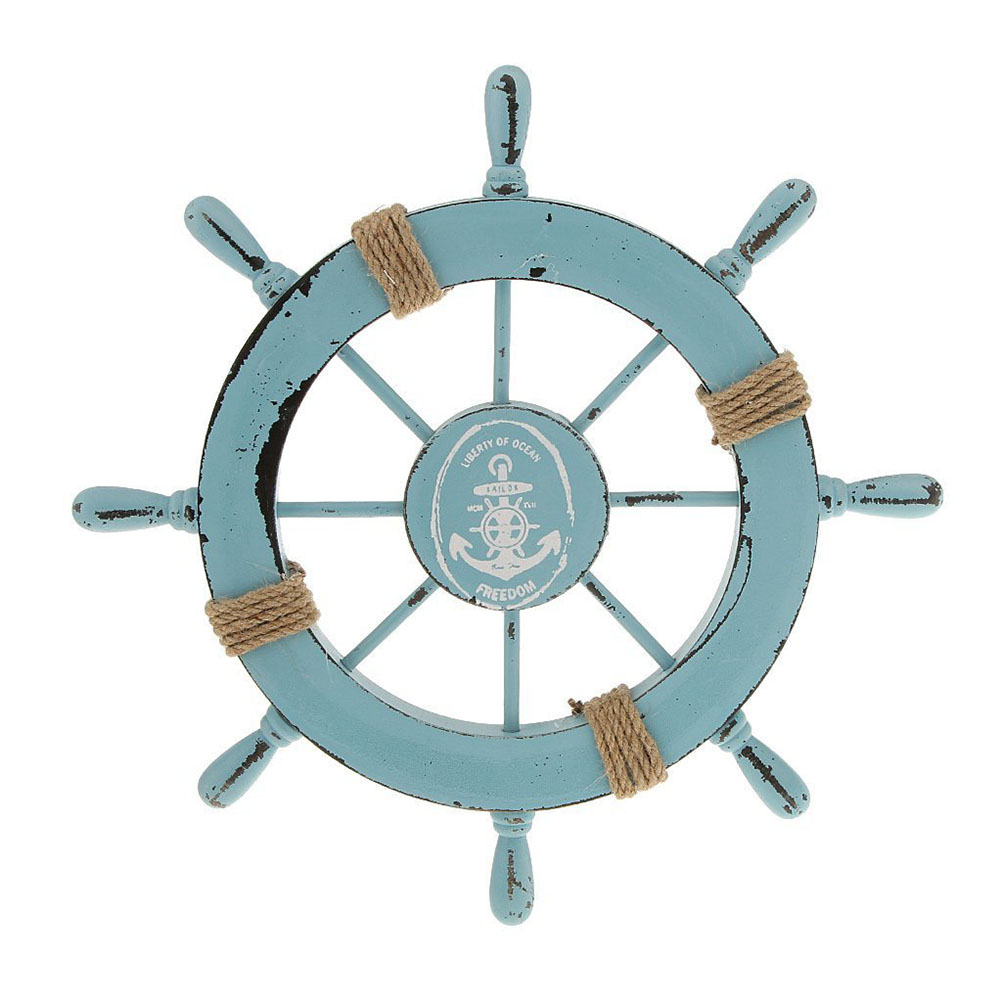 Mediterranean Nautical Wooden Boat Ship Wheel Helm Home Wall Party Decoration (Light Blue)