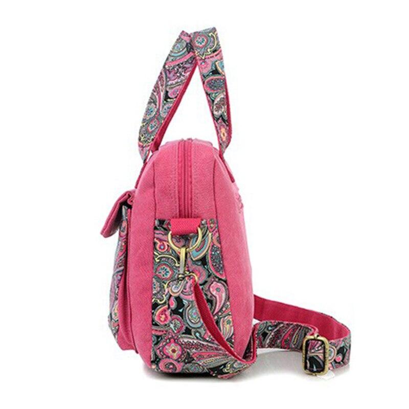 New Top Quality Vintage Women Handbag Ethnic Style Print Flower Canvas Large Tote Fashion Shoulder bag Women Messenger Bag 1