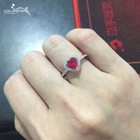 Romantic Heart Ring Sterling Silver 925 Rings For Ladies Cz Diamond Channel Set Thin Band Red