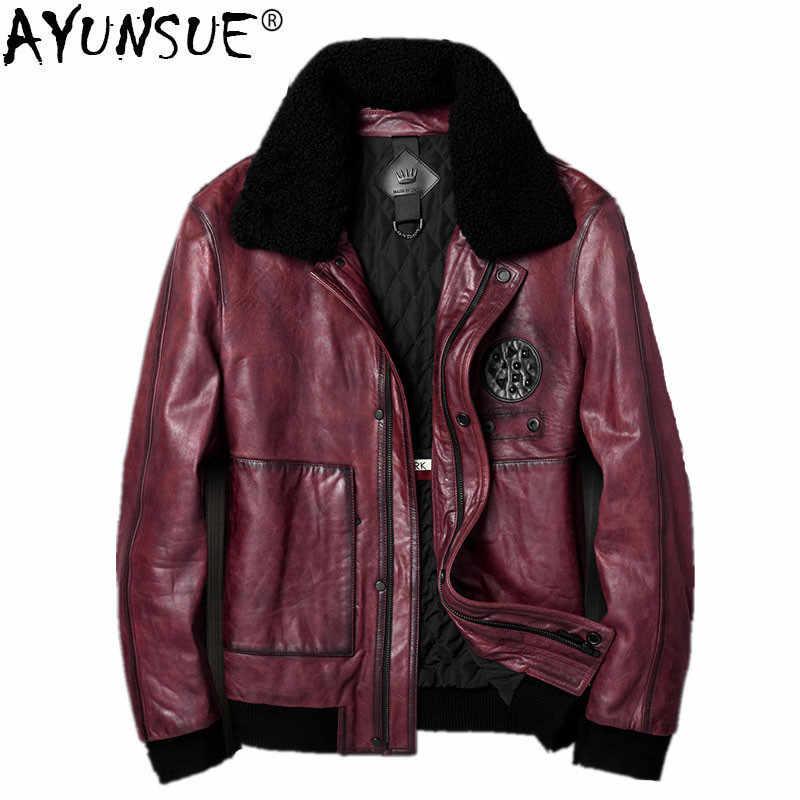 32eff4cac9a AYUNSUE куртка из натуральной кожи  сезон осень-зима  мужская куртка из  овечьей
