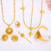 Bangrui Ethiopian Small Jewelry Set Women Girl Gold Plated Hair Pice Pendant Chain Earing Ring Hair