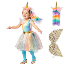 Shimmering Unicorn Party Supplies Fancy Dress Child Clothing Set with Wings Headgear Kid Flower Girl Rainbow Tutu