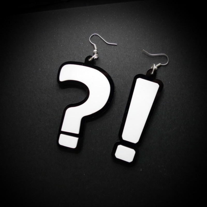 New Cool Bar Night Club Hyperbole Question Exclamation Mark Acrylic Earrings Hiphop Big Long Drop Earring Women Dropshipping
