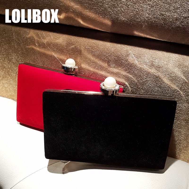 LOLIBOX Clutches Women Pearl Rhinestones Velour Women Evening Clutch Bags Messenger Bags Party Day Clutches Dress Casual Bag yuanyu 2018 new hot free shipping real python leather women clutch women hand caught bag women bag long snake women day clutches