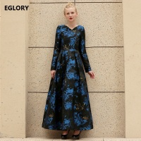 High Quality Women's Dress Big Sizes Clothing Royal Blue Print Jacquard Vintage Long Sleeve Ball Gowns Party Evening Maxi Dress