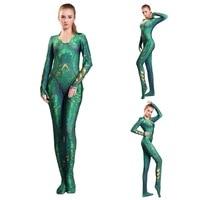 Cosplay Quinn Mera Costume Queen Justice League Costumes Zen t a i Catsuit Aqua man Superhero Bodysuit
