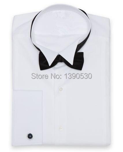 Nouveau design 100% coton pur blanc col de smoking avec manchette française et patte de boutonnage dissimulée chemise de smoking de mariage pour hommes