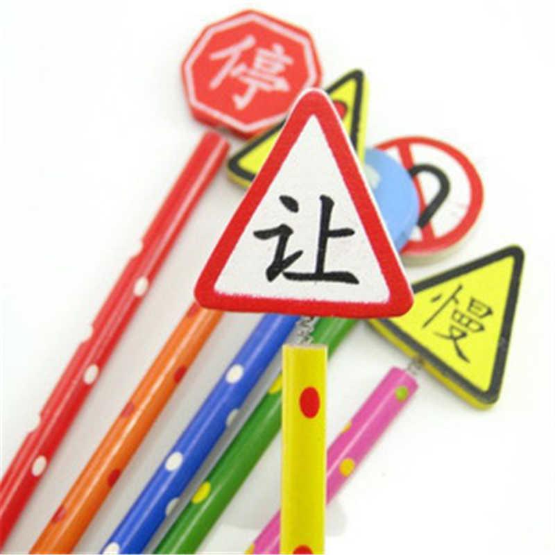 B318日韓国文具かわいい漫画交通標識手作り木製鉛筆卸売ペン文具事務用品学生
