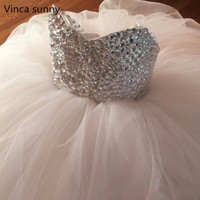 Luxury Crystal Beaded Flower Girl Dresses For Weddings Tulle Ball Gown 2016 Flower Girls First Communion