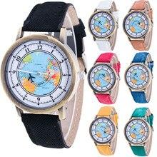 Fashion Women's World Map Cowboy Band Analog Quartz Wrist Watch wholesale Free shipping