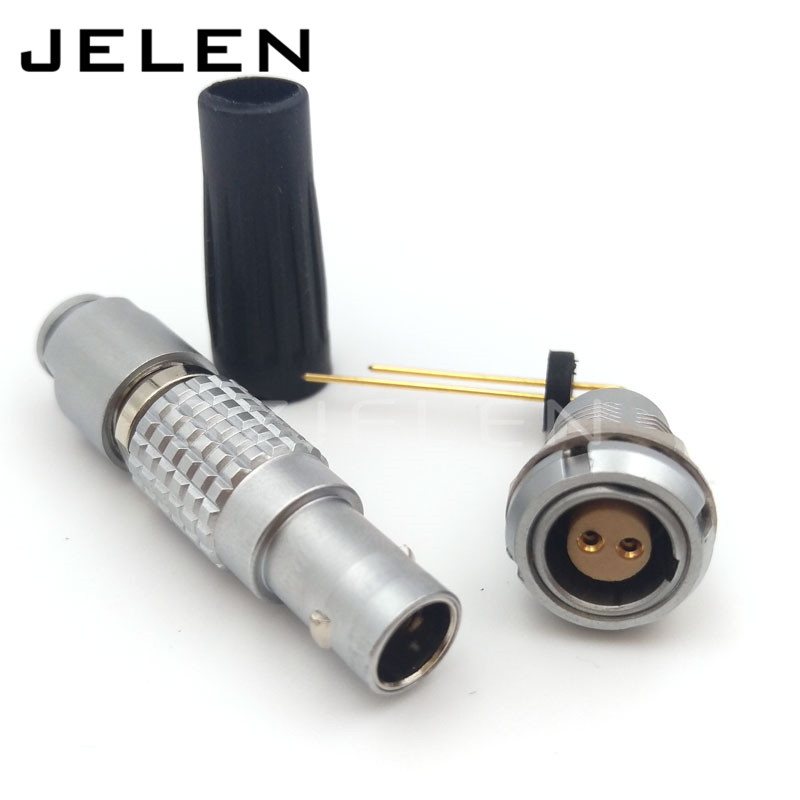 connector FGG.0B.302.CLAD 52Z / ECG.0B.302.CLL , 2pin plug and socket, 90 degrees looper lemo connectorecg 1b 302 cll suitable for pcb installations 90 degree bend needle socket
