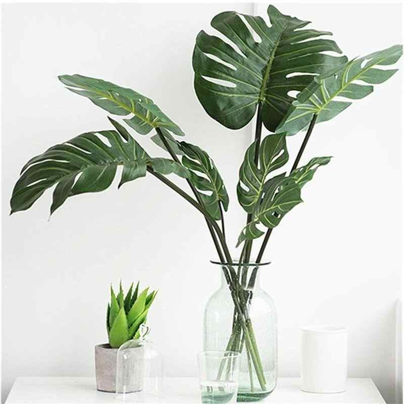 10pcs Artificial Plants Monstera Palm Tropical Plant Green Leaves Home DIY Decoration Wedding Party Office Store Decorations