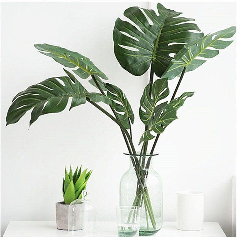 10pcs Artificial Plants Monstera Palm Tropical Plant Green Leaves Home DIY Decoration Wedding Party Office Store Decorations-in Artificial & Dried Flowers from Home & Garden