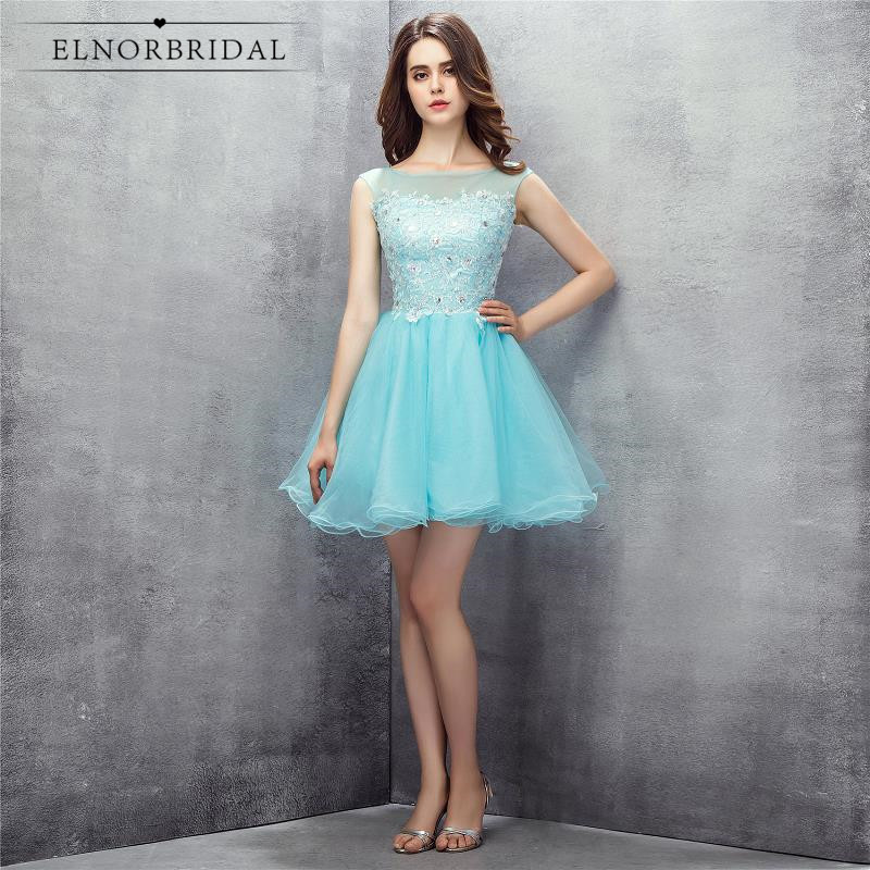 Sky Blue   Cocktail     Dresses   2018 Vestidos Coctel Sheer Short Prom Party   Dress   Evening Wear For Women