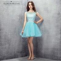 Sky Blue Cocktail Dresses 2018 Vestidos Coctel Sheer Short Prom Party Dress Evening Wear For Women
