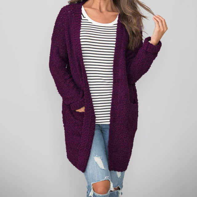 winter woman sweater lady s sweater Long Sleeve Knitted Open Front Wool  Pockets Cardigan coat lady s sweater b93d0e4cd