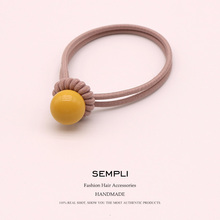 6 Colors High Elasticity Elastic Hair Bands For Women Hair Band Candy Color Beads Ponytail  Kid Children Rubber Band Scrunchie 5 colors elastic heart shape cassic simple for women hair band kid children rubber band high elasticity hair bands