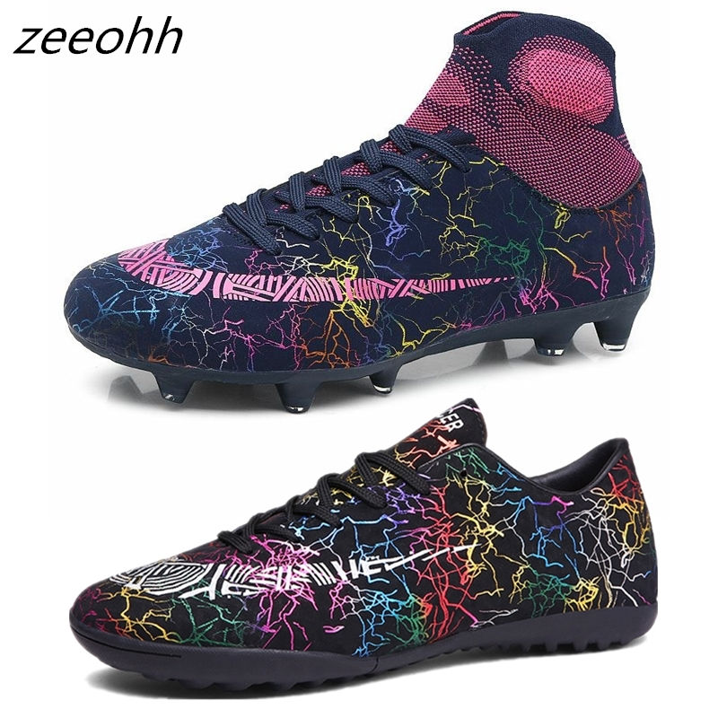 Zeeohh Shoes Football-Boots Soccer Cleats Sneakers Long-Spikes Short TF/FG Men SG Ankle