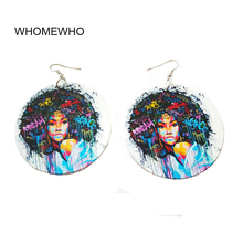 Bohemia Wood Africa Tribal Painting Scrawlling bubble Gum Girl Round Drop Earrings Vintage Retro Wooden African Hiphop Jewelry unfinished wood printing africa girl round drop earrings wooden african hiphop tribal handmade diy jewelry natural accessories