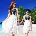 Crianças meninas Vestidos de verão combinação mãe filha vestido longo Plus Size senhora bordado família praia Vestidos