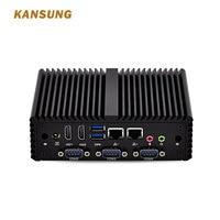 Fanless Mini PC x86 Linux Intel Core I5 I7 Pfsense Firewall Desktop Computer Dual LAN 4 Serial RS 232