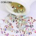 CCBLING Super Brilhante Saco SS3-ss40 Crystal Clear AB cor 3D FlatBack Não HotFix Decorações Nail Art Natator Pedrinhas