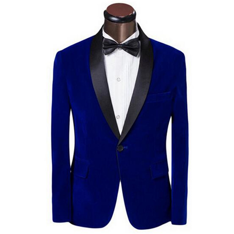 New Suit Jacket Man Dress Jacket Velvet Material Sapphire Blue