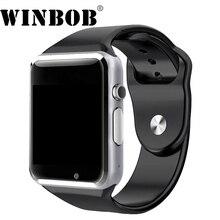 Relógio De Pulso Do Bluetooth A1 WINBOB SIM apoio TF cartão com Câmera Relógio Inteligente Esporte Pedômetro Smartwatch Para Android Smartphones