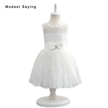 2017 New Ivory Lace Flower Girl Dresses with Bow Knee-Length Wedding Pageant Gowns First Communion Dresses for Little Girls