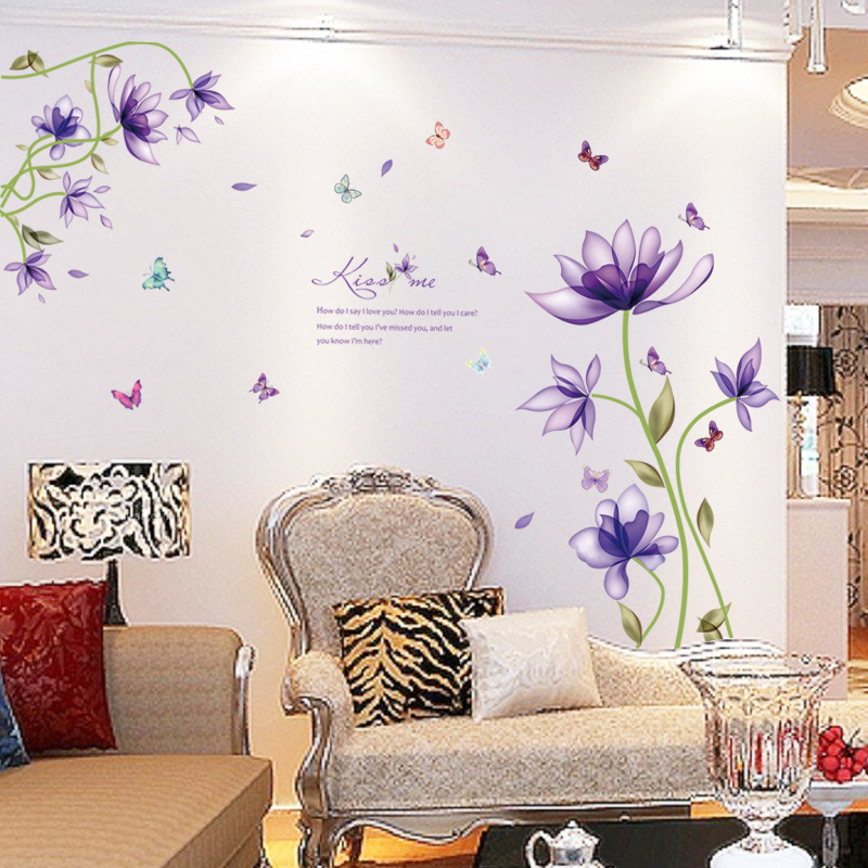 New Fashion Purple Tulips Flowers Wall Stickers For Living Room DIY 3d Wall Sticker Home Decor Adesivo De Parede