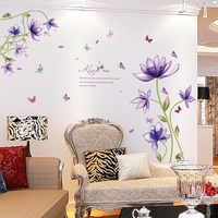 Nueva moda púrpura tulipanes flores pared pegatinas para sala de estar DIY 3d pared pegatina decoración del hogar adesivo de parede