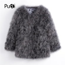 Pudi 2019 new autumn women candy color real Ostrich hair fur coat lady Turkey casual long  jacket outwear CT901