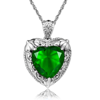 SzjinAo Fashion emerald crystal gemstone female necklace chain pendant plant appearance lover girlfriend 925 silver jewelry gift