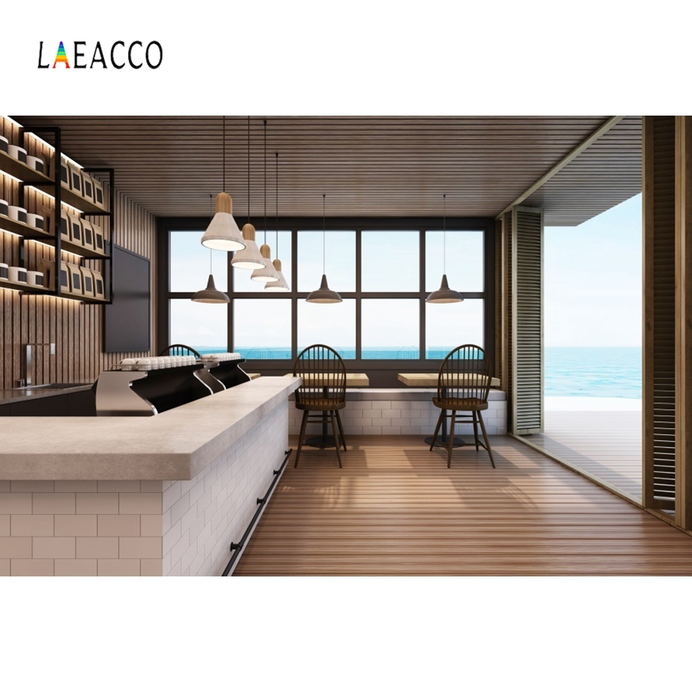 Laeacco Bar Counter Backdrop Window View Sea Photography Background Customized Photographic Backdrops For Photo Studio