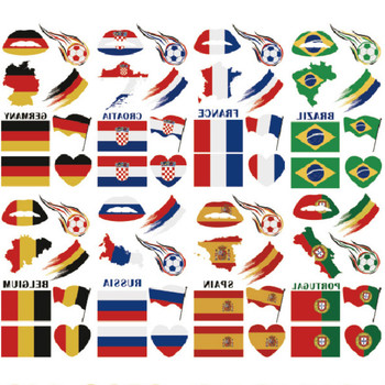 Factory Sale Football Games Tattoo Disposable National Flag Temporary Tattoo 9.5*16cm Face Lip Waterproof Body Arm Logo Tattoo