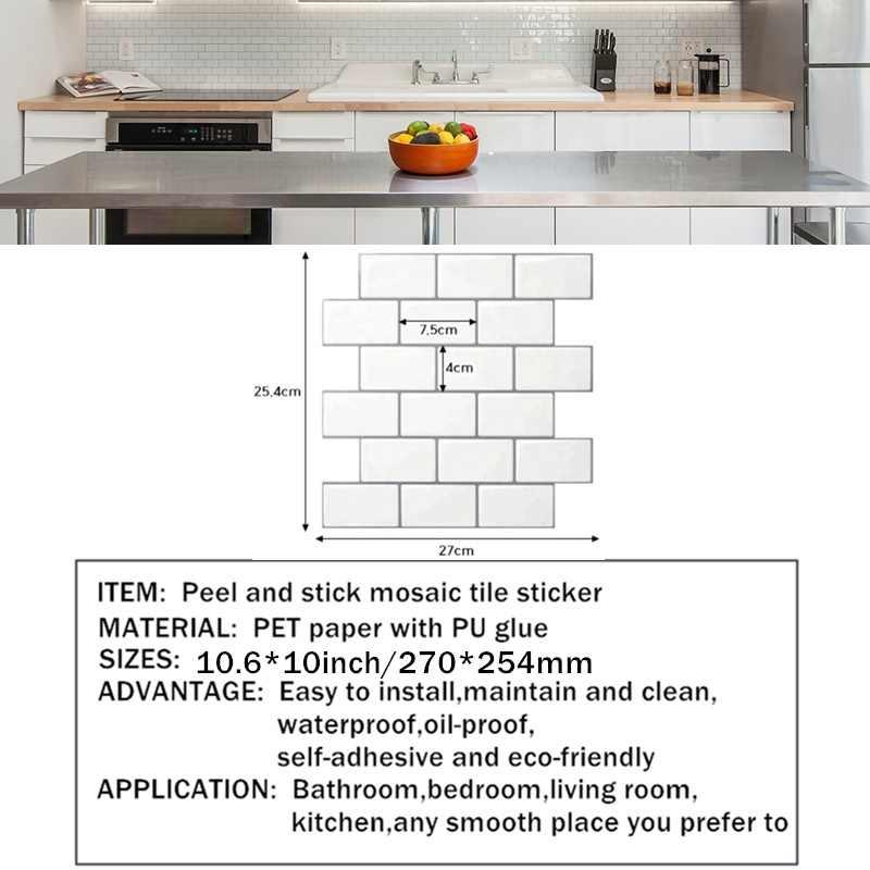 Papel pintado autoadhesivo para decoración del hogar Subway Off White, azulejos de pared de pelar y pegar en 3D para salpicaduras de cocina y baño
