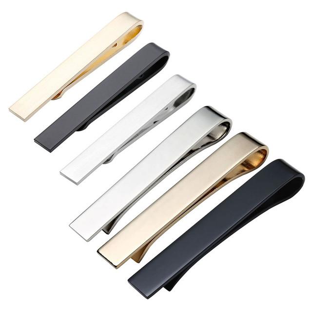 Nova marca 6 pc dos homens Senhores Negócios Gravata De Aço Espelho Simples fina Prendedor de Gravata Bar Fecho Pin 42*5mm Tamanho E 54*8mm tamanho