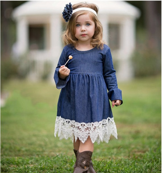 9a8c9d5782fd1 US $165.0 |EMS DHL Free shipping 2017 New Children's Wear Girls Autumn Wear  Long sleeve Jeans with Lace Princess Dress-in Dresses from Mother & Kids ...