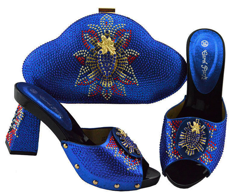 Les plus récentes femmes africaines assorties à la conception italienne chaussure et sac ensemble pour les chaussures italiennes de mariage avec le sac assorti pour la JZS-04 de fête