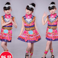 Girls Hmong Chinese national dance costumes Kids performance miao dancing clothing festival Outfits Tops Skirt with headdress